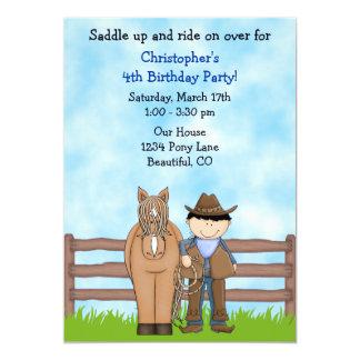 Invitación del cumpleaños del vaquero y del