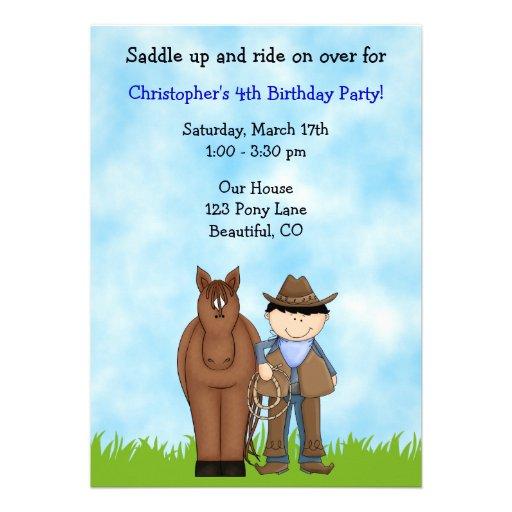 Invitación del cumpleaños del vaquero y del caball