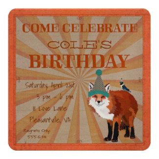 Invitación del cumpleaños del ZORRO y del PÁJARO