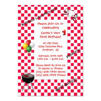 Invitación del cumpleaños--Mantel a cuadros rojo