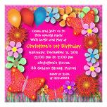 Invitación del cumpleaños: mariposas 003B y flores