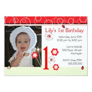 Invitación del cumpleaños - mariquita invitación 12,7 x 17,8 cm