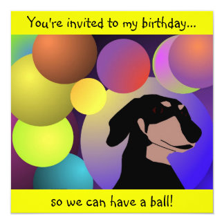 Invitación del Dachshund del cumpleaños