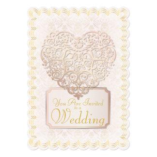 Invitación del damasco del oro y del boda del invitación 12,7 x 17,8 cm