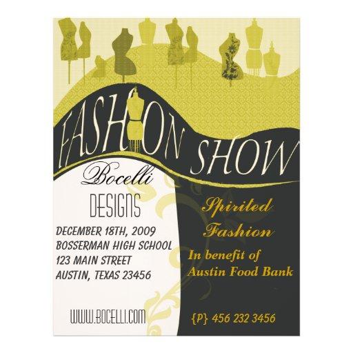 Invitación del desfile de moda y del diseñador folleto 21,6 x 28 cm
