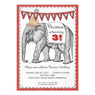 Invitación del desfile del circo del elefante del