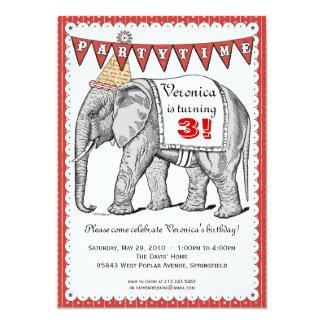 Invitación del desfile del circo del elefante del invitación 12,7 x 17,8 cm