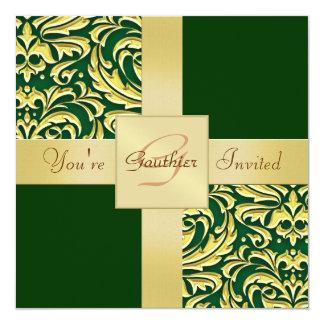 Invitación del día de fiesta del verde del damasco invitación 13,3 cm x 13,3cm