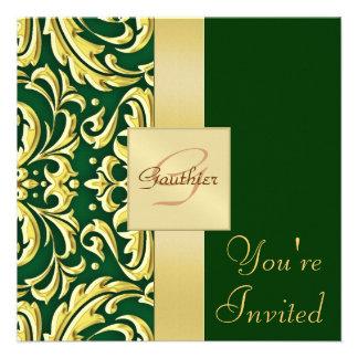 Invitación del día de fiesta del verde del damasco