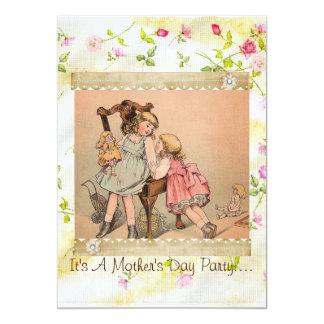 Invitación del día de madre del capullo de rosa de