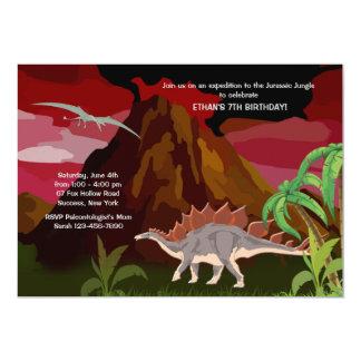 Invitación del dinosaurio invitación 12,7 x 17,8 cm