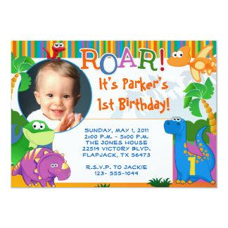 Invitación del dinosaurio - cumpleaños de los invitación 12,7 x 17,8 cm