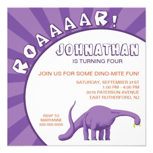 Invitación del dinosaurio del Dino-Ácaro - púrpura