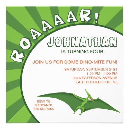 Invitación del dinosaurio del Dino-Ácaro - verde