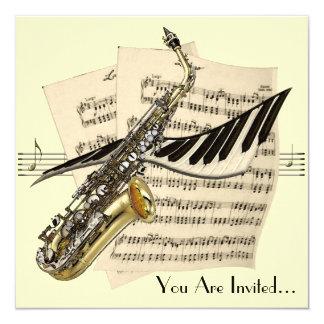 Invitación del diseño de la música del saxofón