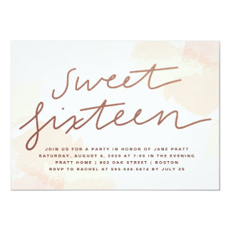 Invitación del dulce dieciséis de la acuarela