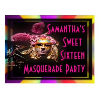 Invitación del dulce dieciséis de la mascarada postal