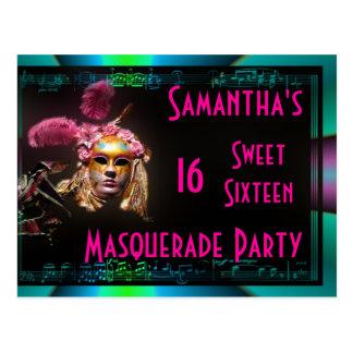 Invitación del dulce dieciséis de la mascarada tarjeta postal