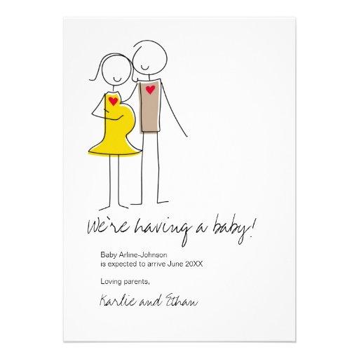 Invitación del embarazo, colores neutrales
