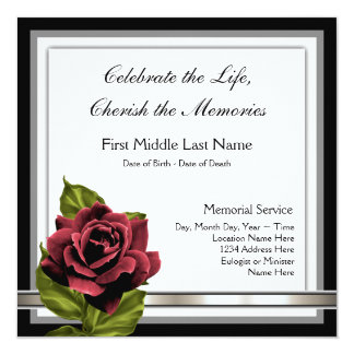 Invitación del entierro del rosa rojo
