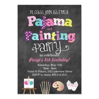 Invitación del estilo del pijama y de la pizarra