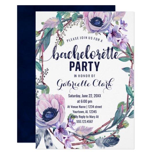 Invitación del fiesta de Bachelorette de la pluma