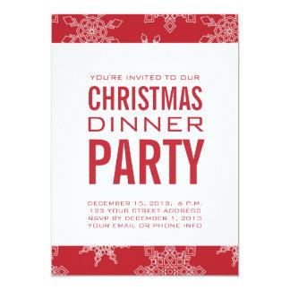 Invitación del fiesta de cena de navidad rojo y