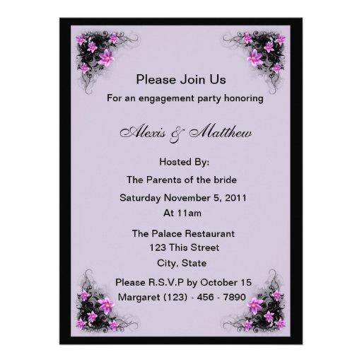 Invitación del fiesta de compromiso de la flor del