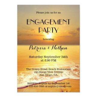 Invitación del fiesta de compromiso de la playa de