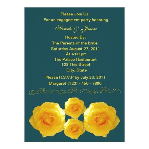 Invitación del fiesta de compromiso de los rosas a