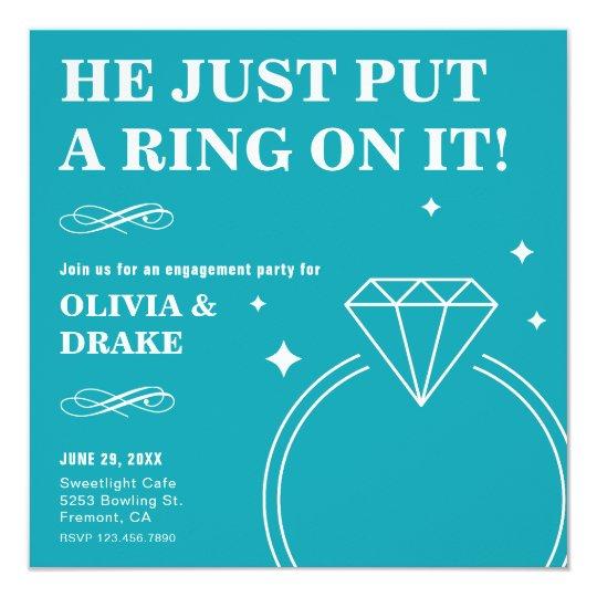 Invitación del fiesta de compromiso del anillo de