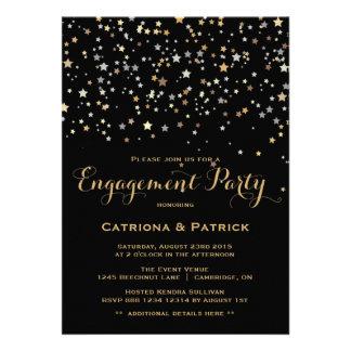 Invitación del fiesta de compromiso del confeti de