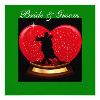 Invitación del fiesta de compromiso, novia y baile