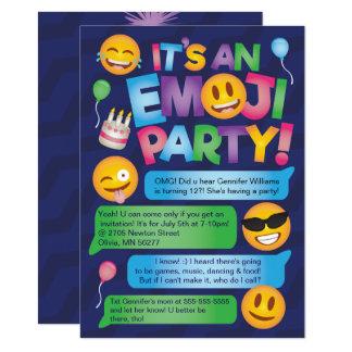 Invitación del fiesta de Emoji de la diversión