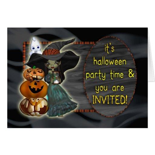 Invitación del fiesta de Halloween con el fantasma Tarjeta