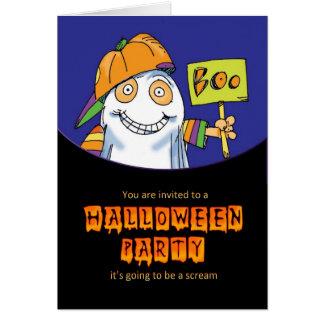 invitación del fiesta de Halloween con el fantasma Tarjeta De Felicitación