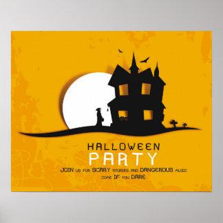 Invitación del fiesta de Halloween de la casa Póster