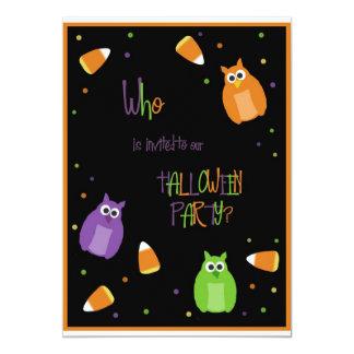 Invitación del fiesta de Halloween del búho y de