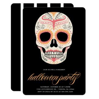 Invitación del fiesta de Halloween del cráneo del