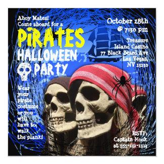 Invitación del fiesta de Halloween del pirata Invitación 13,3 Cm X 13,3cm