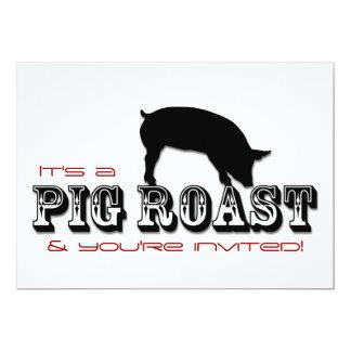 Invitación del fiesta de la carne asada del cerdo invitación 12,7 x 17,8 cm