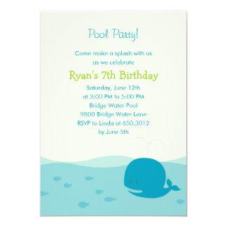 Invitación del fiesta de la fiesta en la piscina o invitación 12,7 x 17,8 cm