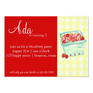 Invitación del fiesta de la fresa invitación 11,4 x 15,8 cm