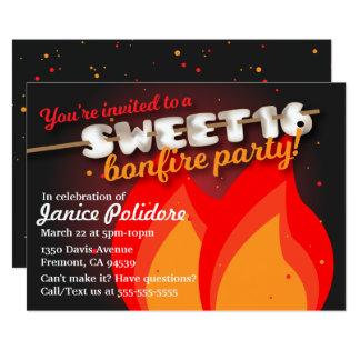 Invitación del fiesta de la hoguera del dulce 16