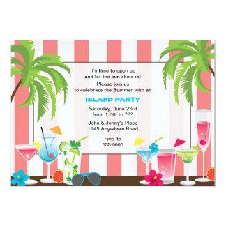 Invitación del fiesta de la isla del cóctel del