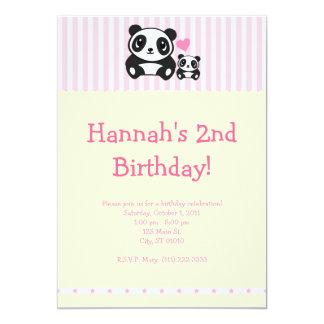 Invitación del fiesta de la panda - rosa invitación 12,7 x 17,8 cm