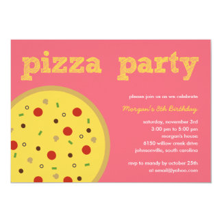 Invitación del fiesta de la pizza (Pink) Invitación 12,7 X 17,8 Cm
