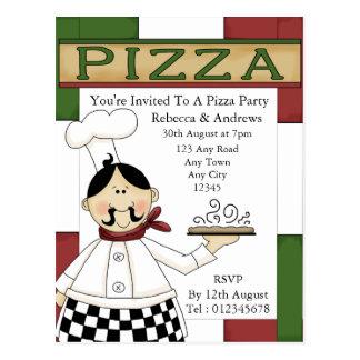 Invitación del fiesta de la pizza postal