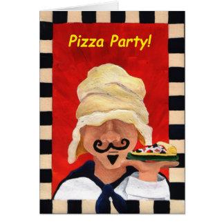 Invitación del fiesta de la pizza tarjetón