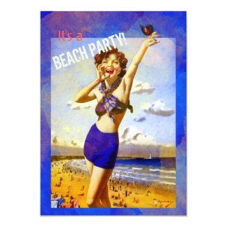 Invitación del fiesta de la playa de los adultos